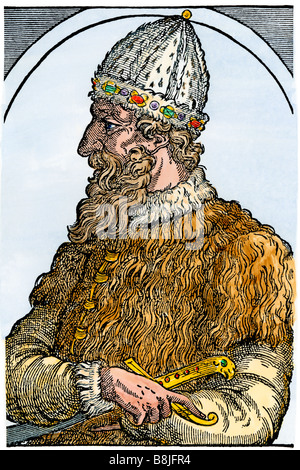 Ivan III known as Ivan the Great Grand Prince of Muscovy. Hand-colored woodcut - Stock Photo