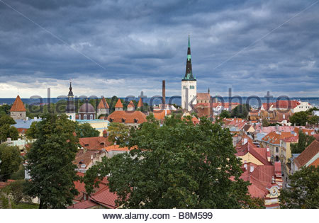 Tallinn historical old town view from Toompea hill. - Stock Photo
