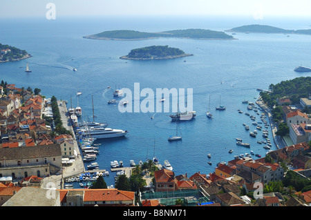The port at Hvar Croatia seen from the hilltop fortress - Stock Photo