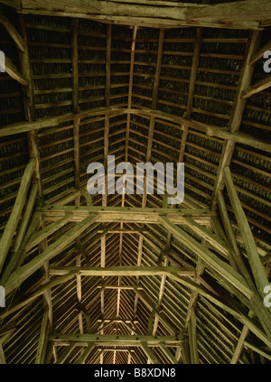 Interior timber roof structure in thirteenth century Great Coxwell Barn Faringdon Oxfordshire - Stock Photo