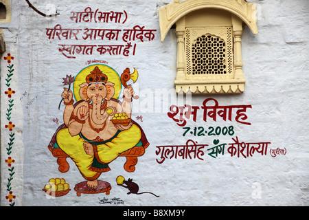 India Rajasthan Jaisalmer wall painting elephant god Ganesh - Stock Photo