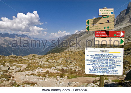 Hiiking trail signs, Plan de l'Aiguille, Chamonix, France - Stock Photo