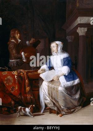 LE CORSET BLEU by Gabriel Metsu 1628 - 1667 at Upton House, Warwickshire. - Stock Photo
