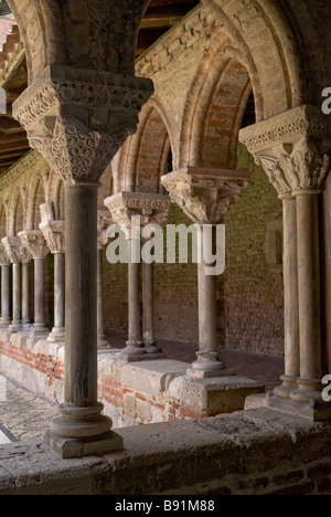 Cloisters of the Saint Pierre Abbey in Moissac France - Stock Photo