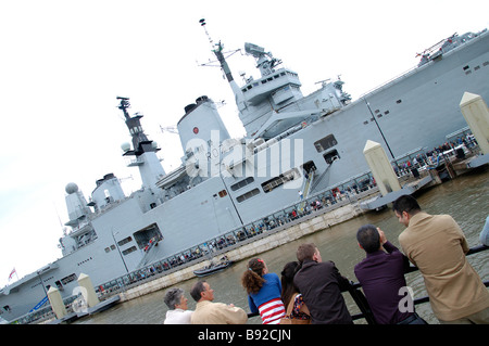 HMS Ark Royal R07 Navy Aviation NATO Rolls Royce United Kingdom cruiser warship aircraft carrier NAS CVS R07 flight - Stock Photo