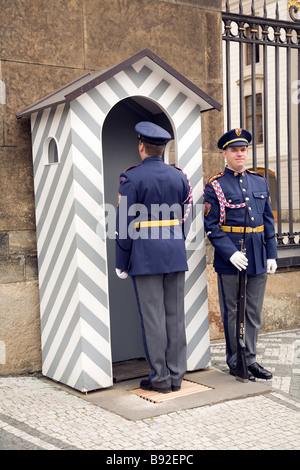 Changing of the guard at the main gate of Prague Castle Prazsky Hrad Prague Czech Republic - Stock Photo