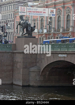 The Anichkov Bridge over the Fontanka River In 1715 Peter the Great ordered Col Mikhail Anichkov to built a wooden - Stock Photo