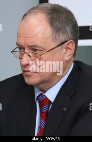 President of non profit business group Opora Rossii and member of the Public Chamber Sergei Borisov at a presentation - Stock Photo