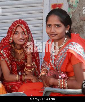 India Rajasthan Udaipur young rajasthani women - Stock Photo