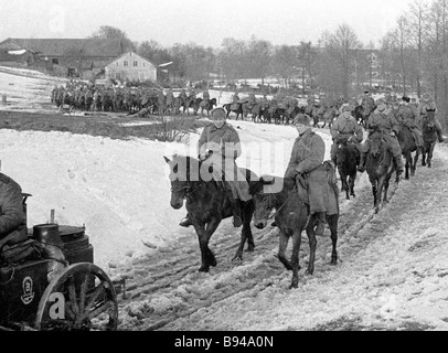 Troopers of the Third Guards Cavalry Corps approaching the city of Allenstein in East Prussia - Stock Photo
