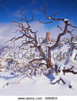 Desert View Watchtower winter Grand Canyon National Park Arizona - Stock Photo