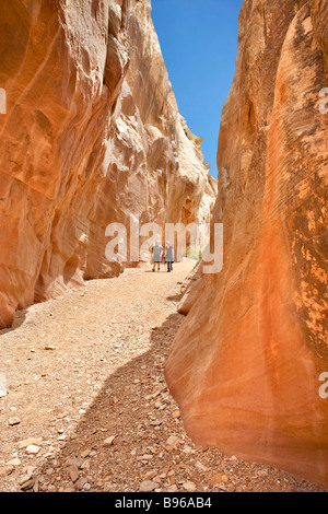Hiking in Little Wild Horse Canyon Utah USA - Stock Photo