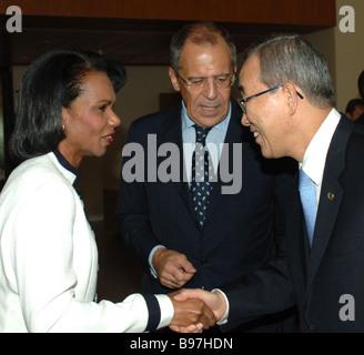 UN Secretary General Ban Ki moon Russian Foreign Minister Sergei Lavrov and US Secretary of State Condoleezza Rice - Stock Photo