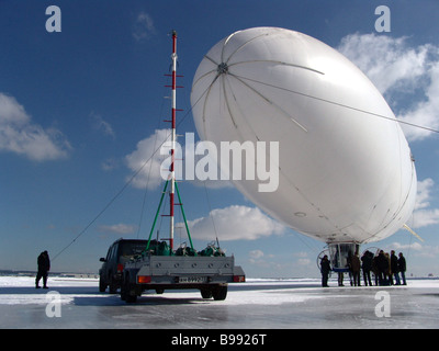 Testing the airship designed to prevent and monitor traffic jams - Stock Photo