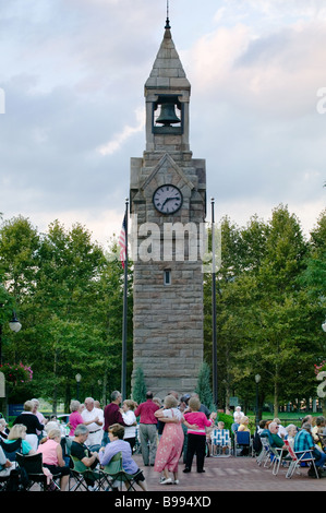 Dancing and music Gaffer District Corning New York Finger Lakes Steuben County - Stock Photo