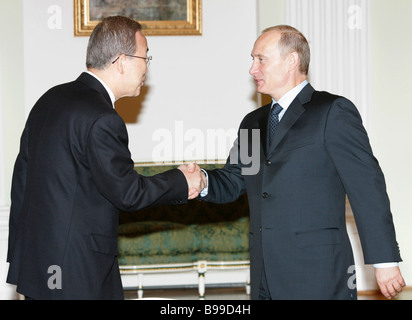 Ban Ki Moon who was appointed the next UN Secretary General and Russian President Vladimir Putin left to right meeting - Stock Photo