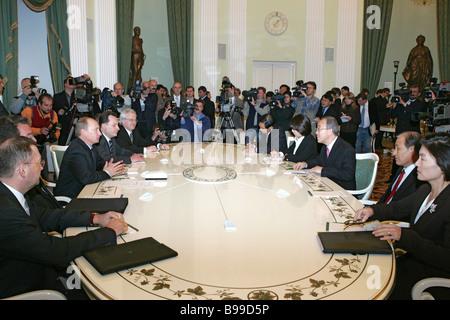 Russian President Vladimir Putin receiving Ban Ki Moon who was appointed the next UN Secretary General in the Kremlin - Stock Photo