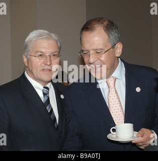German Foreign Minister Frank Walter Steinmeier and Russian Foreign Minister Sergei Lavrov left to right at an international - Stock Photo