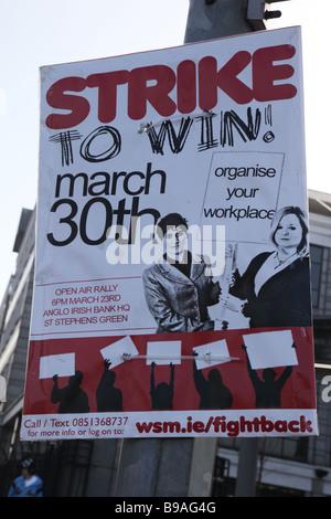 Strike poster Dublin Docklands Ireland - Stock Photo