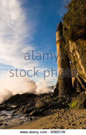 Victoria Beach Tower Laguna Beach California - Stock Photo