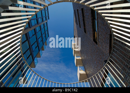 View above between two buidlings in the harbourcity Hafencity Hamburg, Germany. - Stock Photo