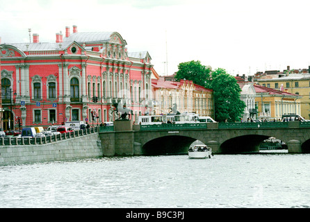 Anichkov Bridge the first to span the Fontanka River was built in 1715 on orders from Peter the Great It was rebuilt - Stock Photo