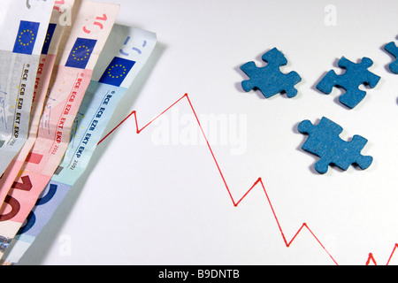 Financial crisis, stock market bessa, crash, index, euro, puzzle. - Stock Photo