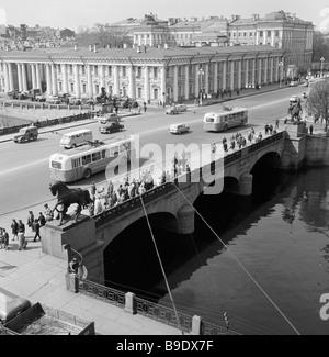 The Anichkov bridge over Fontanka river in St Petersburg - Stock Photo