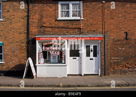 Hairdresser's shop in Amersham Old Town - Stock Photo