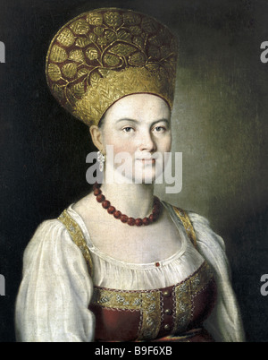 A reproduction of Portrait of an Unknown Woman in Russian Dress by Ivan Argunov from the collection of the State - Stock Photo