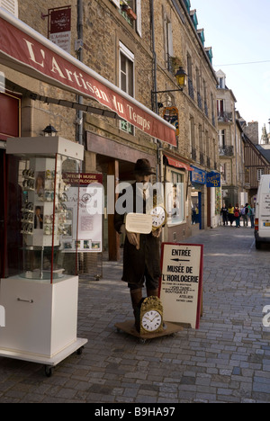 View of exterior of clock museum and street scene  in Fougeres, Ille et Vilaine, Bretagne,  France - Stock Photo