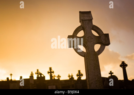Gravestones at a cemetery in Bantry, Ireland, Europe - Stock Photo