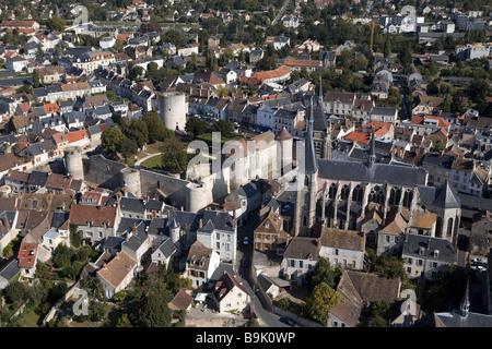 France, Essonne, Chevreuse Valley, Dourdan (aerial view) - Stock Photo