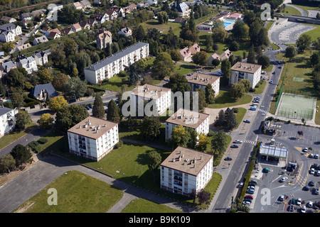 France, Essonne, Chevreuse Valley, Dourdan village (aerial view) - Stock Photo