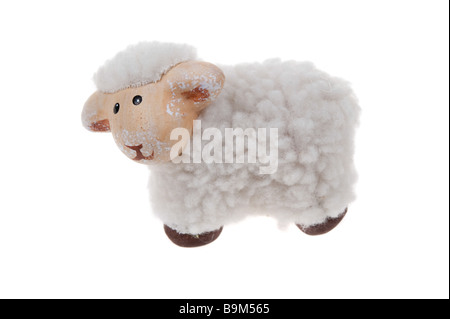 cute sheep toy isolated on a white background - Stock Photo