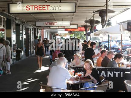 Street cafe in Fitzroy Street in St.Kilda near Melbourne,Victoria,Australia - Stock Photo