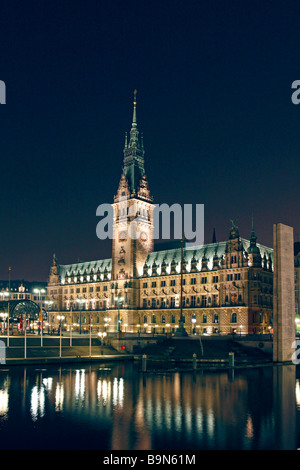 Germany ,Hamburg, Town Hall at night - Stock Photo