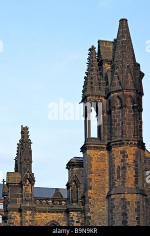 Germany, Hanseatic City Hamburg, War Memorial St. Nikolai Church - Stock Photo