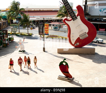Mexico Yucatan - Cancun zona hotelara or hotel zone main centre the Forum shopping mall with Hard Rock Café guitar - Stock Photo
