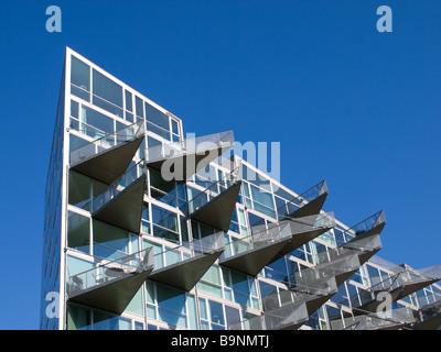 The very triangular VM-Husene residential building, located in the Ørestad district of Copenhagen, Denmark. - Stock Photo