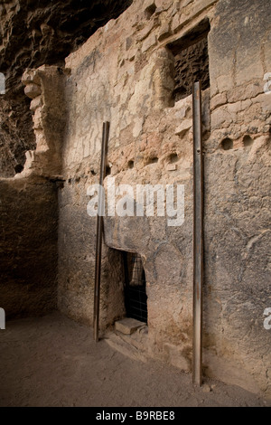 The Lower Cliff Dwelling a prehistoric Salado ruin at Tonto National Monument central Arizona - Stock Photo