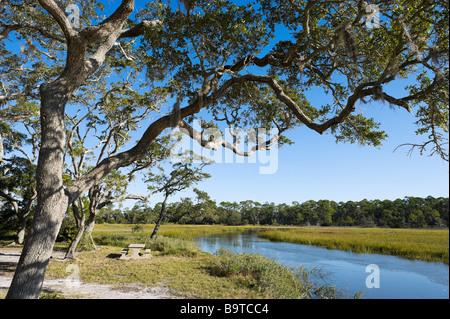 Clam Creek Picnic Area, Jekyll Island, Georgia, USA - Stock Photo