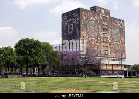 View of The Central Library at The National Autonomous University of Mexico, in Mexico City - Stock Photo