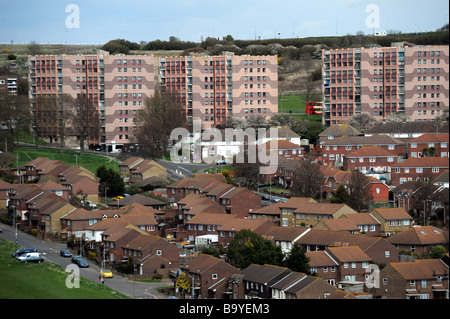 The Swanborough flats on the Whitehawk housing estate in Brighton East Sussex UK - Stock Photo