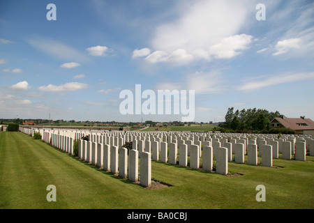 View over the headstones of the Zantvoorde Commonwealth War Graves Commission Cemetery.It is located 8 kms SE of - Stock Photo