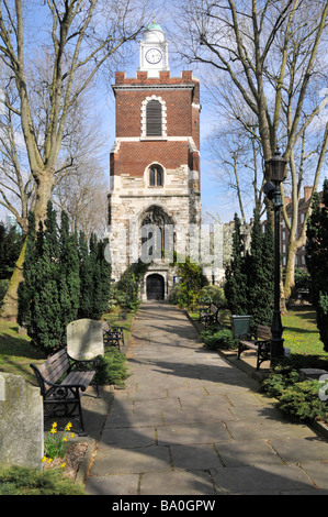 The Church of St Mary Bow tower and path East London - Stock Photo
