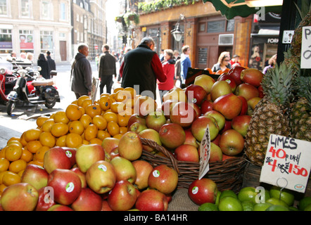 Fresh fruit being sold at Borough Market in London - Stock Photo