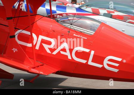 Oracle Aerobatic Airplane Flown By Sean D Tucker at Dayton Air Show Vandalia Ohio - Stock Photo