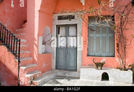 pink house and a cat in Chalki village. Naxos island, Cyclades islands, Aegean Sea. Greece - Stock Photo