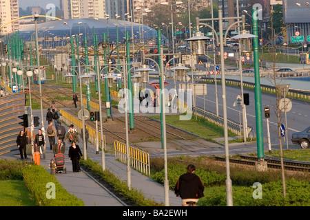 Poland, Street scene in Katowice - Stock Photo